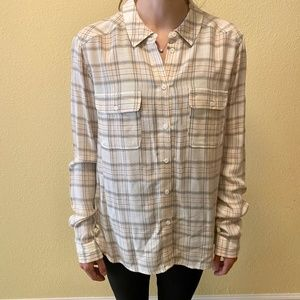 Paige Plaid Long Sleeve Button Down Blouse